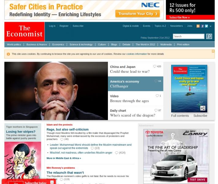 Economist Is The Flagship Website Of An English Weekly News Magazine Which Has Been In Print Since 1843 And Receives Over More Than 20 30