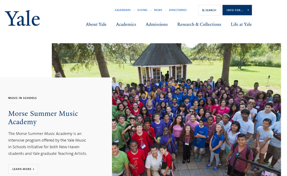 Yale University website